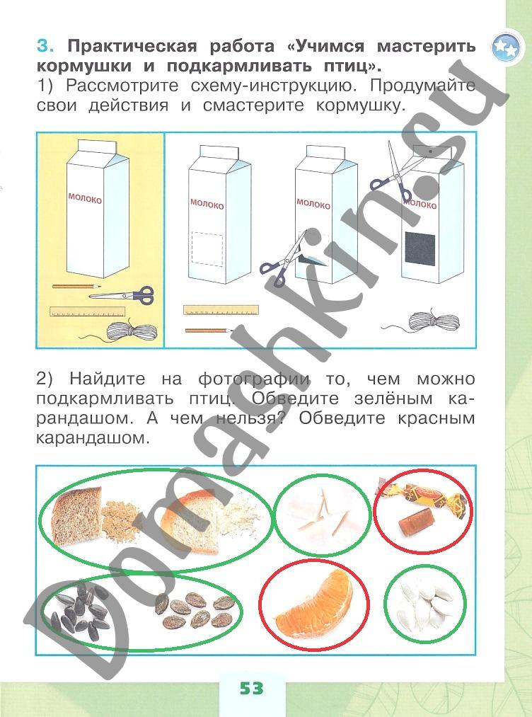 ГДЗ Окружающий мир 1 класс рабочая тетрадь Плешаков 1 часть страница 53