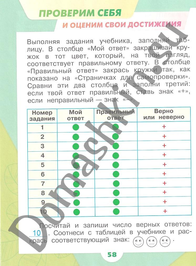 ГДЗ Окружающий мир 1 класс рабочая тетрадь Плешаков 1 часть страница 58