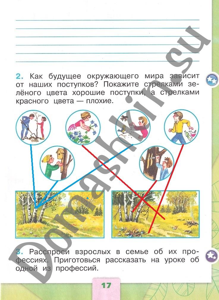 ГДЗ Окружающий мир 1 класс рабочая тетрадь Плешаков 2 часть страница 17