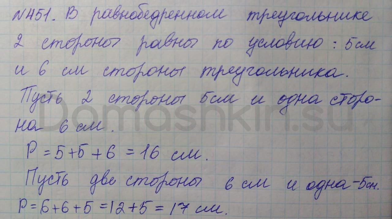 Математика 5 класс учебник Никольский номер 451 решение